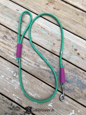 Hundeleine-Leder-rund-genäht-8-mm-grün-pink-