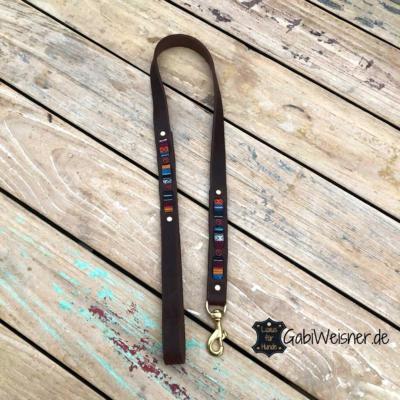 Hundeleine-Leder-weich-25-mm-breit-Handschlaufe-3-Farben