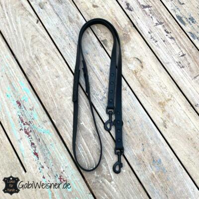 Hundeleine komplett Schwarz, Karabiner Schwarz, Leder 2 cm breit