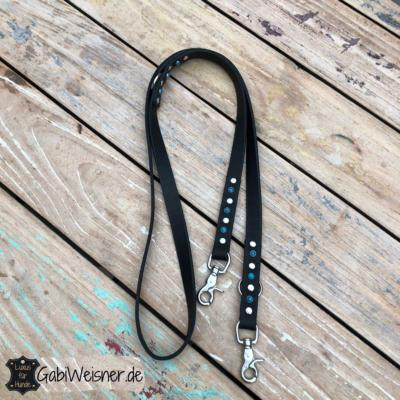 Hundeleine-türkis-Leder-2-cm-breit-schwarz-Edelstahl-Karabiner