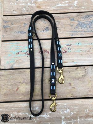 Hundeleine Leder 2 cm breit hellblau Schwarz 1