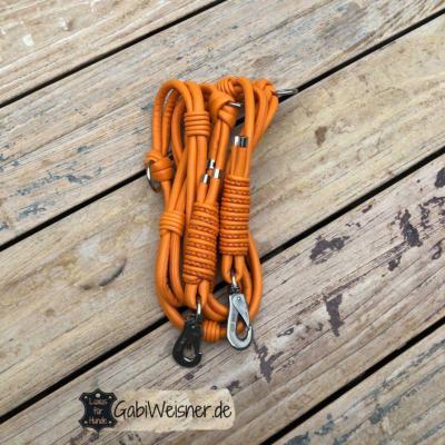 Hundeleine Leder Orange 8 mm 220 mm lang
