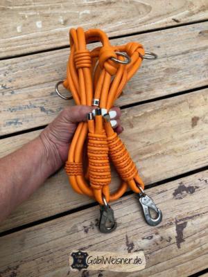 Hundeleine Leder Orange Doppelstrang mit je 8 mm220 mm lang
