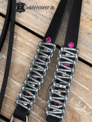 LUXUS-Halsband-pink-silber-schwarz-1
