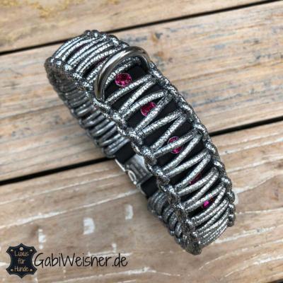 LUXUS-Halsband-und-Leine-pink-silber-schwarz-2