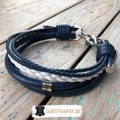 Lederhalsband maritim 1