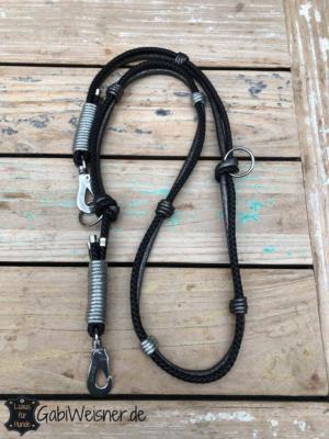 Luxus-HundeLeine-Leder,-2x-verstellbar,-160cm-8mm,-Schwarz-Anthrazit 2 (1)