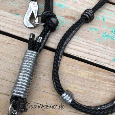 Luxus-HundeLeine-Leder,-2x-verstellbar,-160cm-8mm,-Schwarz-Anthrazit 3