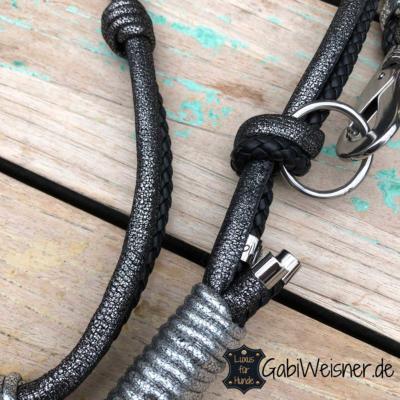 Luxus-HundeLeine-Leder,-2x-verstellbar,-160cm-8mm,-Schwarz-Anthrazit 4