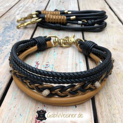 Luxus-Hundehalsband-und-Leine-Leder-in-Schwarz-Cognac-1