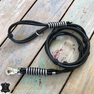 Luxus-Lederleine-mit-Handschlaufe-Doppelstrang-schwarz-Silber-1