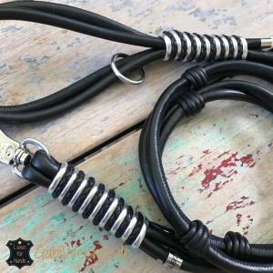 Luxus-Lederleine-mit-Handschlaufe-Doppelstrang-schwarz-Silber-2