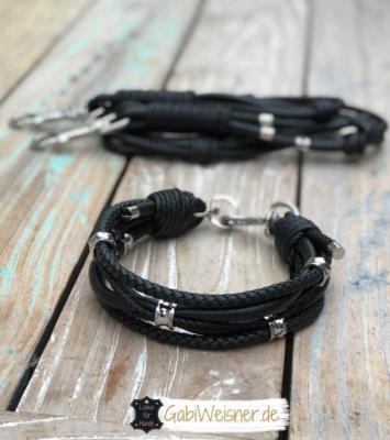 Luxus Hundehalsband Leine Leder Schwarz 1