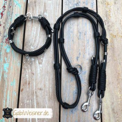 Luxus Hundehalsband Leine Leder Schwarz 2