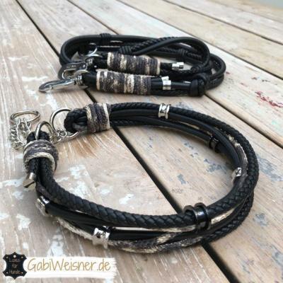 Luxus Hundehalsband Nappaleder Schlangenleder-Prägung Ohrtunnel