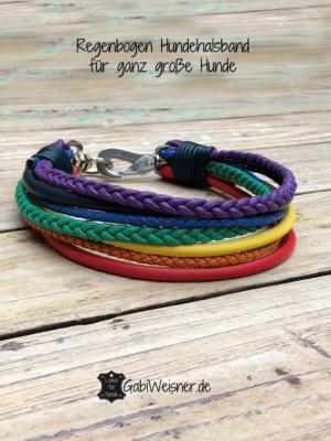 Regenbogen-Hundehalsband-für-ganz-große-Hunde-von-51-bis-60-cm-HU