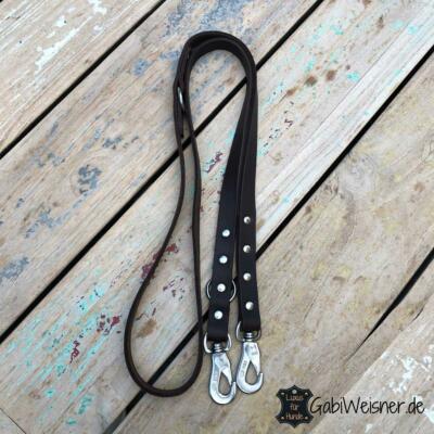 Hundeleine Fettleder 2 cm breit, Edelstahl-Karabiner, Leder, 4 Farben