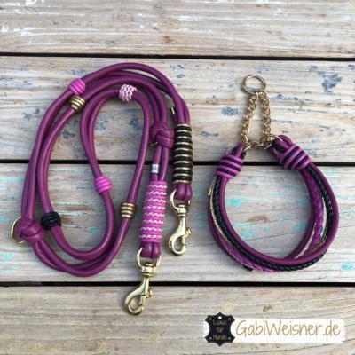 hundehalsband-hundeleine-leder-beere-rosa-pink-schwarz-gold-3