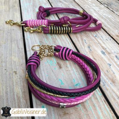 hundehalsband-hundeleine-leder-beere-rosa-pink-schwarz-gold-4