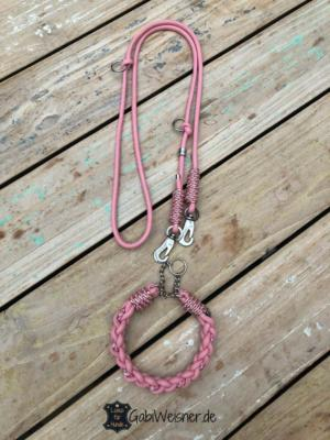 hundehalsband-set-leder-rosa