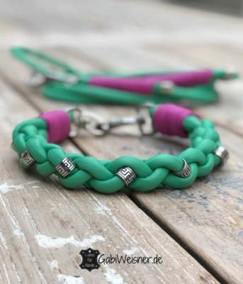 hundehalsband-und-leine-grün-pink-1