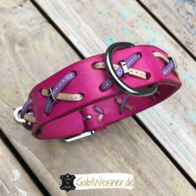 hundehalsband leder pink rosa