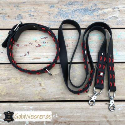 hundehalsband leine leder schwarz rot 1