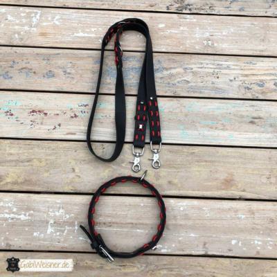 hundehalsband leine leder schwarz rot 11