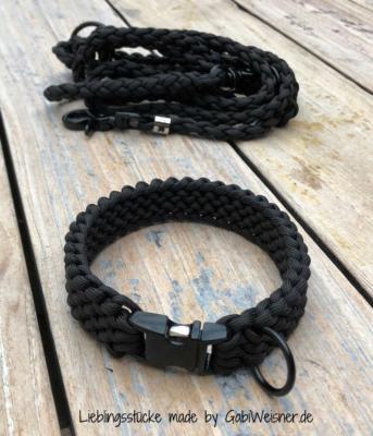 hundehalsband set mit klickverschluss paracord schwarz 1