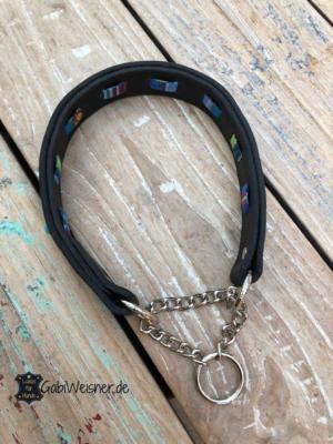 hundehalsband zugstopp leder schwarz türkis ethno blau 4